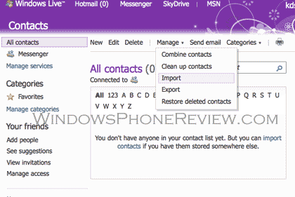 Windows live contacts sync windows phone