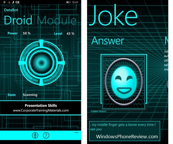 Databot, the Virtual Talking Robot for Windows Phone